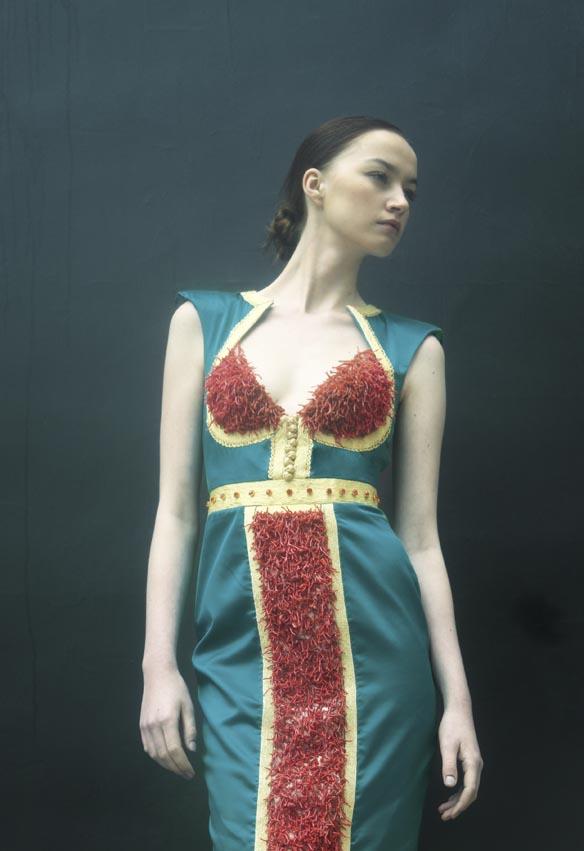 Robe en satin de soie brodée de fil d'argent,  corail rouge et cristaux Swarovski  MEHDI KALLEL