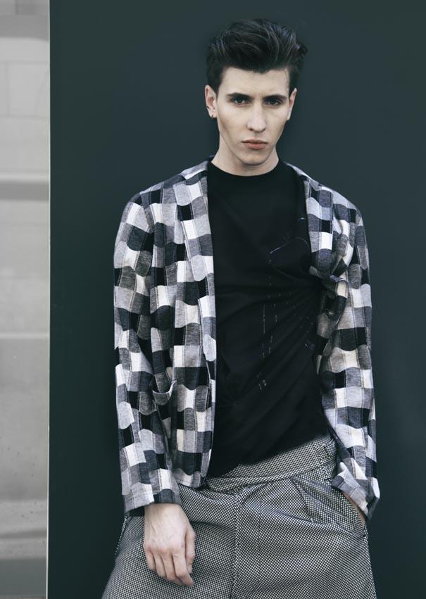 Veste en jersey, T-shirt imprimé et short style «Gurkha» tissu collé «mesh», M'S BRAQUE
