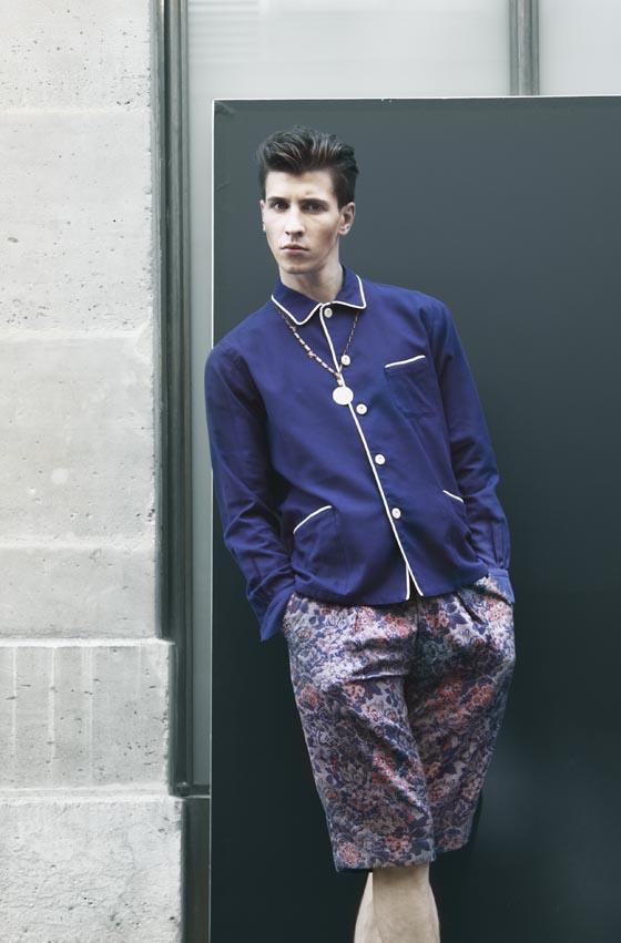 Chemise style «Pyjama» avec boutons en verre vintage et short à fleurs en tissu «jacquard», M'S BRAQUE